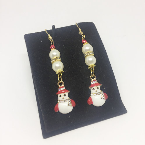 Christmas Red and white enamel Snowman earrings