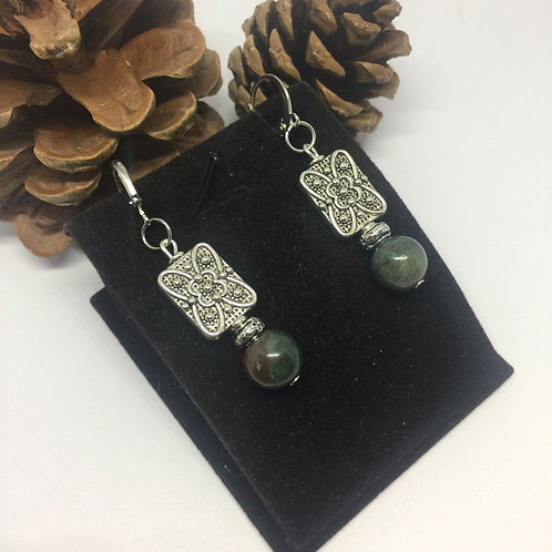 Green Agate and silver rectangle drop earrings