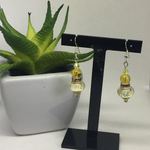 Yellow Murano Glass Drop Earrings