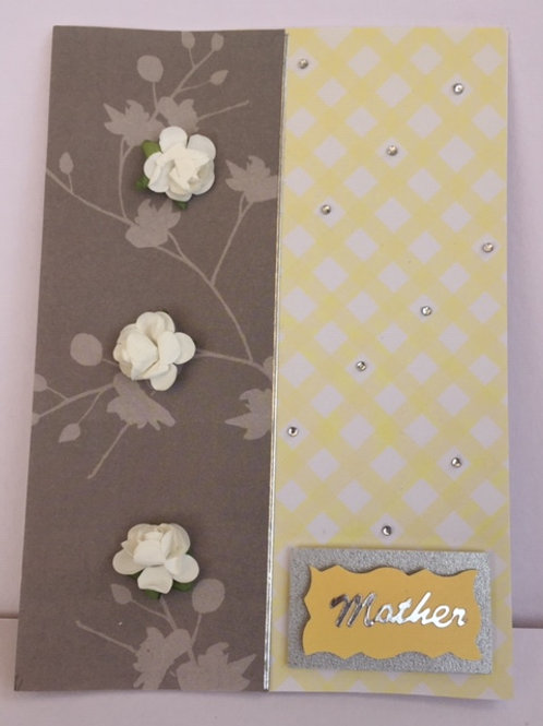 Grey and Yellow white flowers Mother card