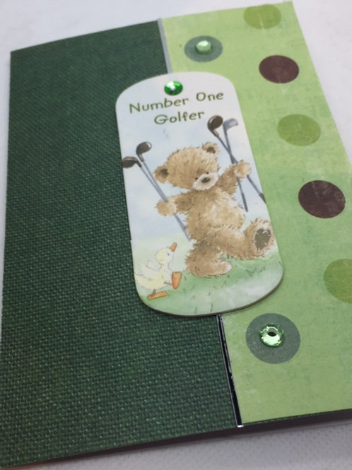 Number One Golfer Teddy Bear card