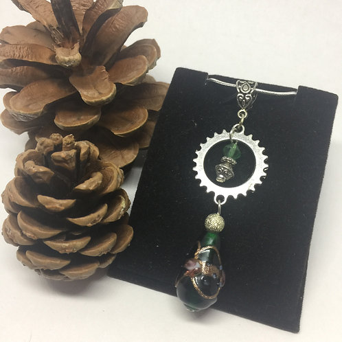 Dark Green and Silver Drop necklace
