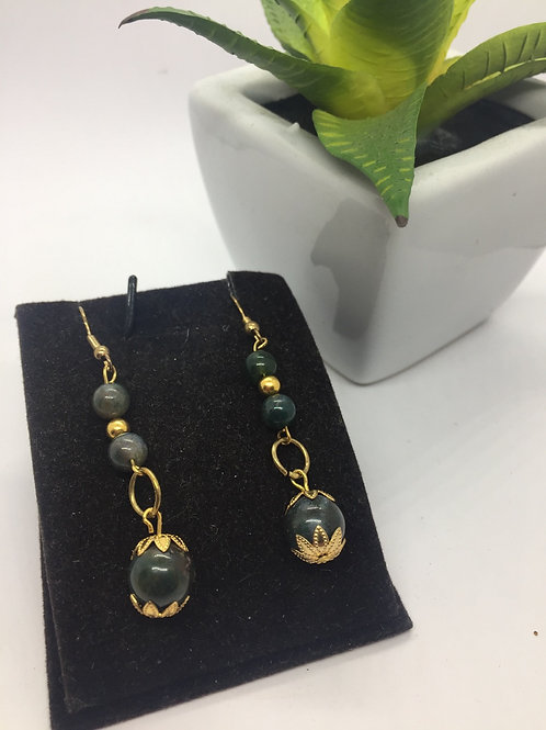Dark Green and gold double drop earrings