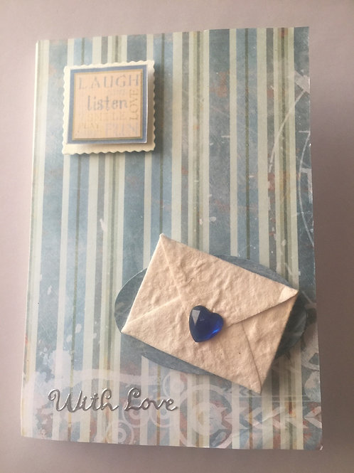 Blue heart envelope with love card