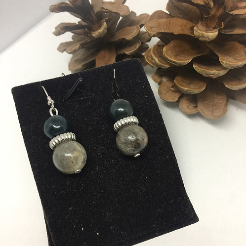 Grey and Dark Green Agate drop earrings