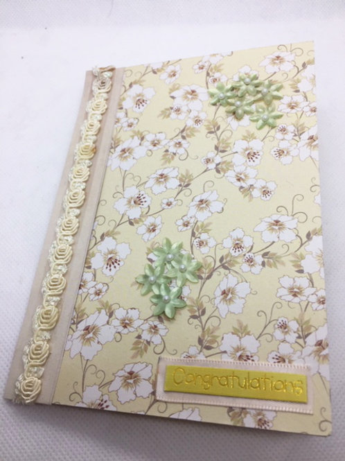 Cream and green floral 'Congratulations' card