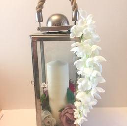 Horizontal silver candle lantern