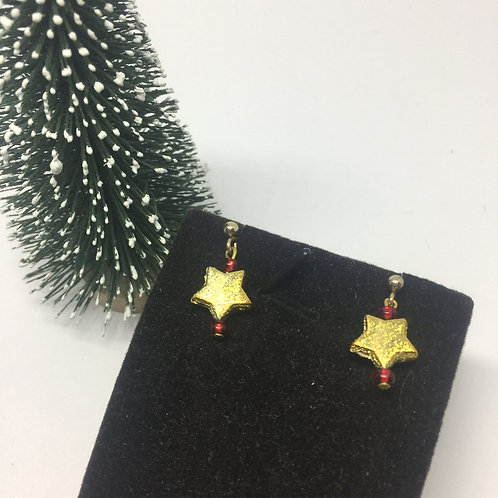 Christmas fun gold star earrings