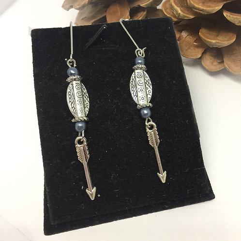 Silver arrow drop earrings