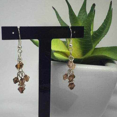 Brown multi Crystal drop earrings