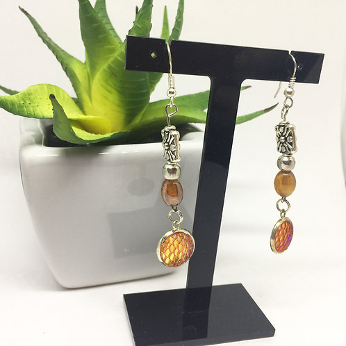 Golden orange scales long drop earrings