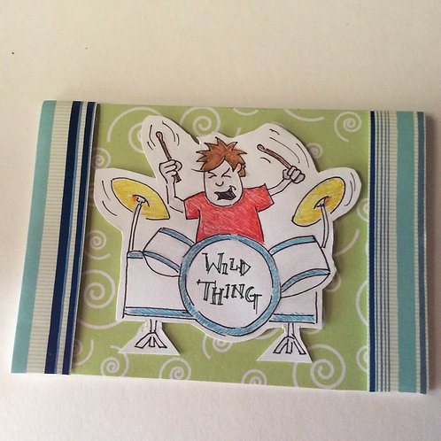 'Wild Thing' drummer boy blank card