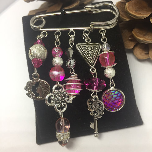 Pink mixed beads and charms Brooch Pin