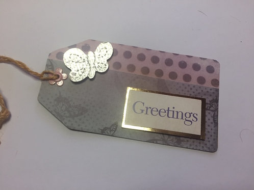 Pale Lilac Butterfly Greetings Gift tag