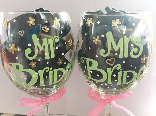 Bespoke Hand Painted Mr & Mrs Wedding Glasses