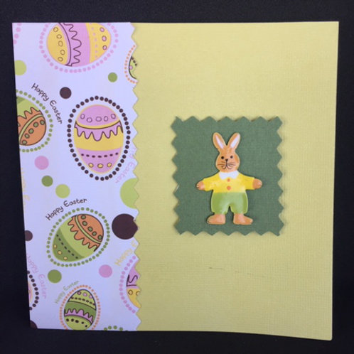 Yellow and Green Metallic Bunny Happy Easter Square Card