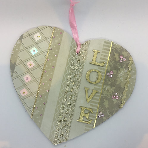 Decorated 'LOVE' hanging heart