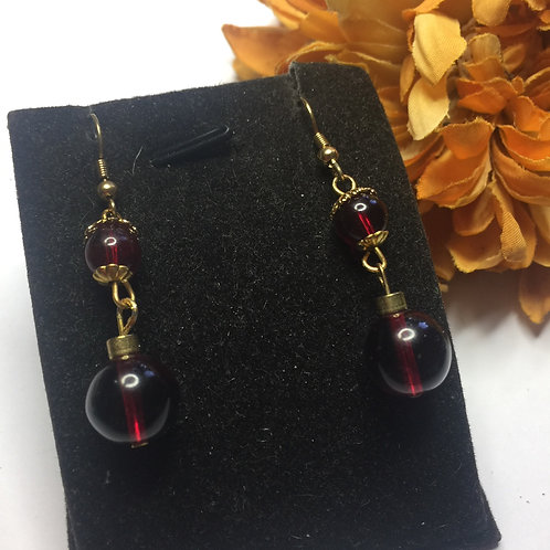 Clear double drop red and gold drop earrings