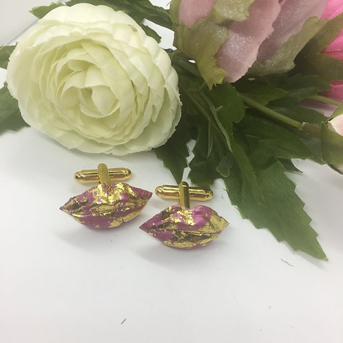 Pink and gold leaf Kiss Cufflinks