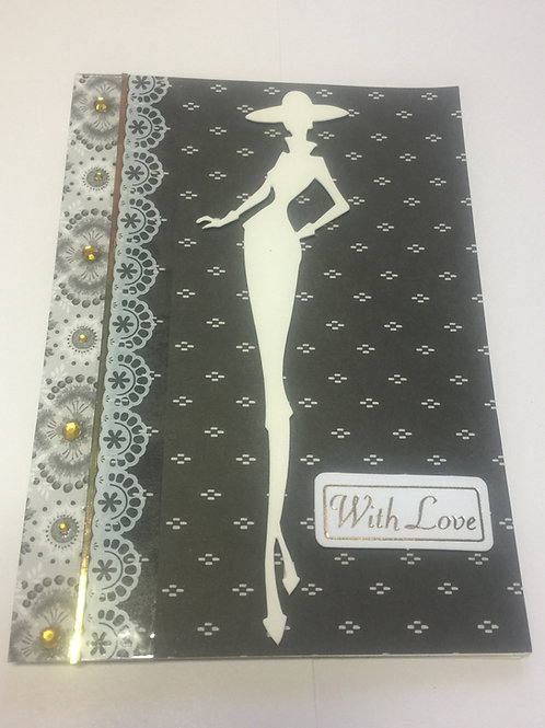 Mono Lady Silhouette 'With Love' card