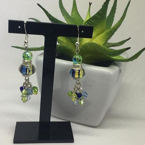 Blue, Yellow, Green Murano Glass Earrings