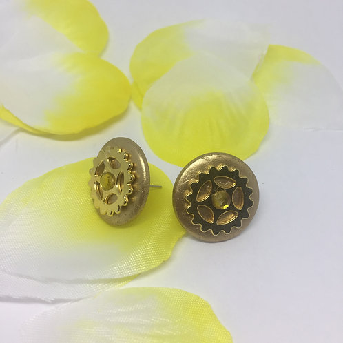 Gold Round with Cog Stud Earrings