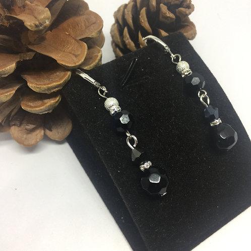 Black Jet double drop earrings