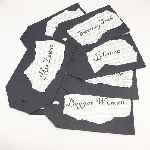 Sweeney Todd set of 9 named gift tags