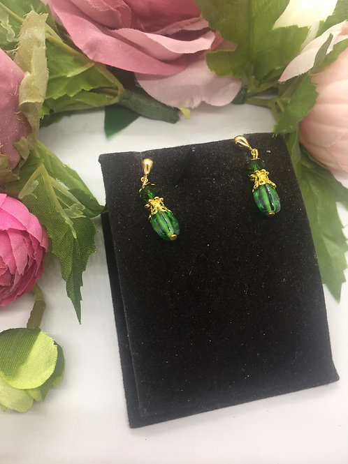 Small green and gold drop earrings