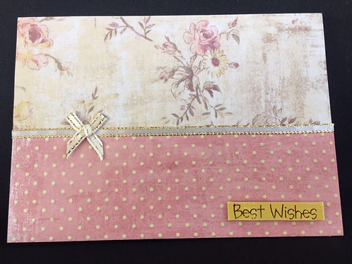 Pink Floral and spot landscape 'Best Wishes' card