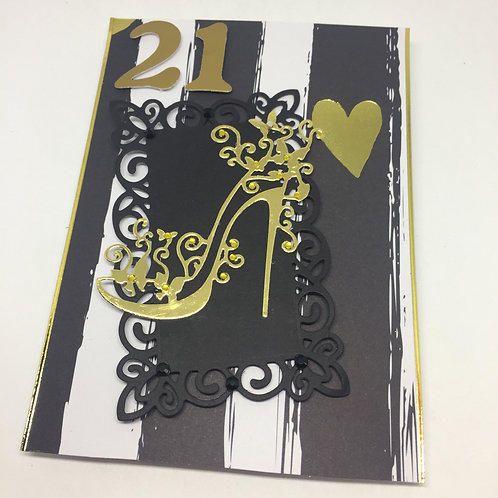 21st Birthday Black and Gold Stiletto rectangular card