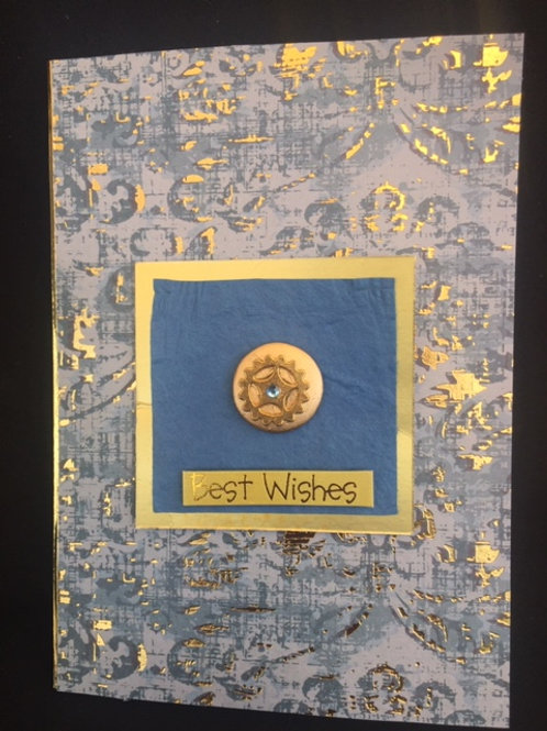 Blue and Gold Cog 'Best Wishes' card