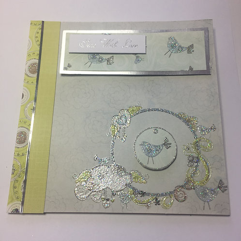 Lime and Blue little bird Sent with Love Square card