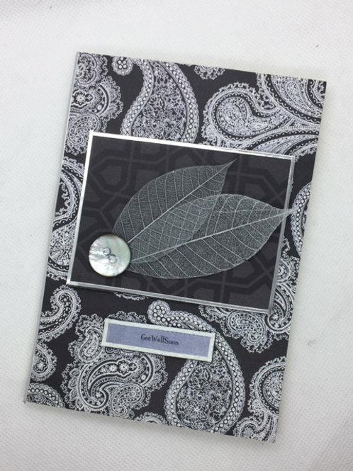 mono silver grey leaf Get well soon card