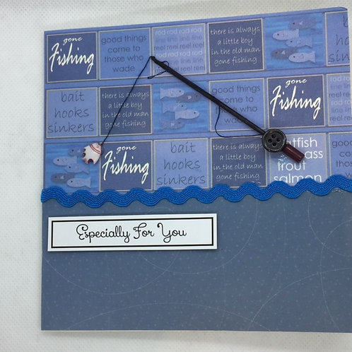 Blue Gone Fishing  with Rod square card