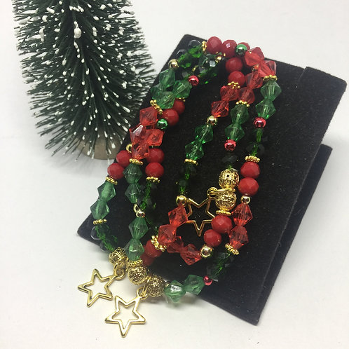 Christmas 3 strand red and green gold star bracelet