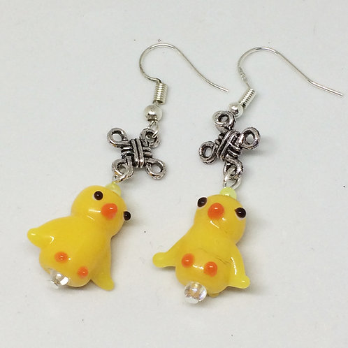 Honk! Glass Duckling Earrings