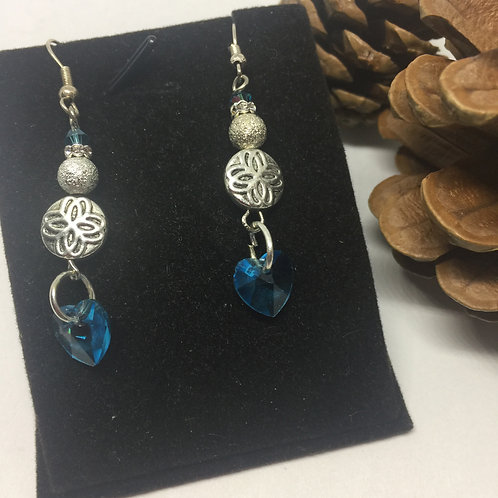 Turquoise Crystal Heart drop earrings
