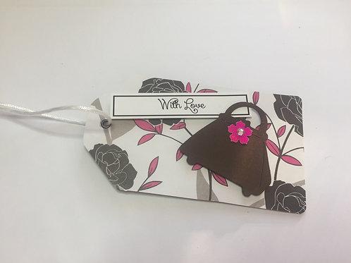 With Love black and pink handbag Gift tag