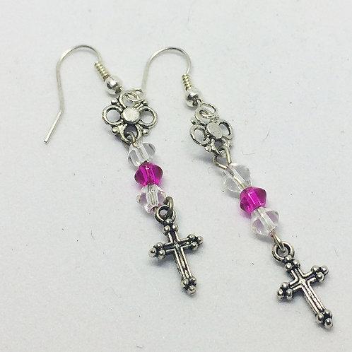 Pink & White Crystal Cross Drop earrings