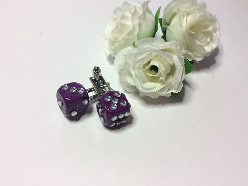 Purple sparkle and bling diamanté Cufflinks