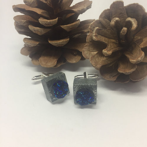 Silver Sparkle and Dark Blue Crystalline Square Cufflinks