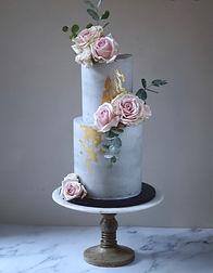 Contemporary pink rose wedding cake.jpg