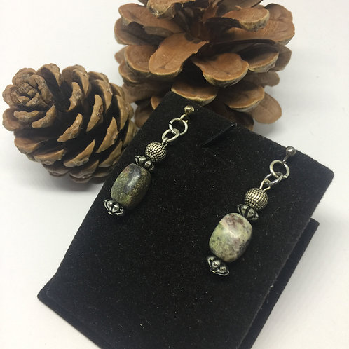Labradorite and pewter rectangle drop earrings