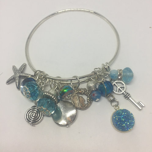 Turquoise Multi Beads and Charms Adjustable Silver Bracelet