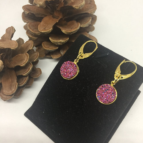 Dark Pink Sparkle and gold drop earrings