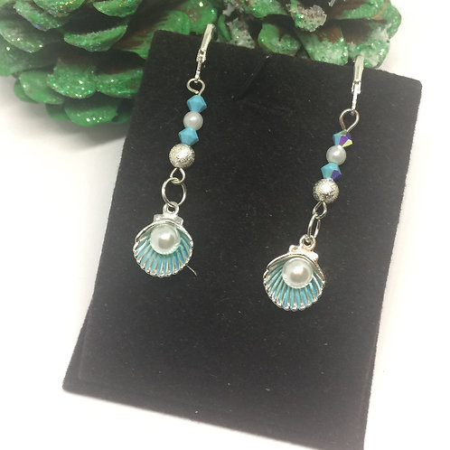 Blue clam and pearl drop earrings