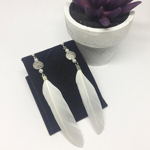 Long White Feather and small pearls drop earrings