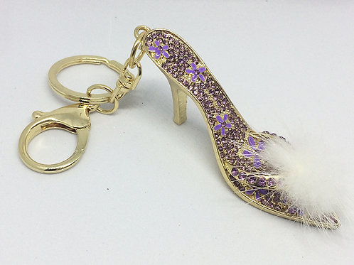 Purple Crystal and fluff Shoe keyring