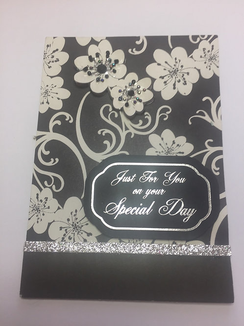 Black flora beaded 'Just for you on your special day' card